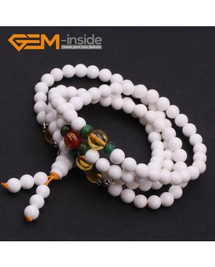 G9786 6mm Natural Round Tridacna Shell Mala Prayer Buddha Buddhism Bracelet Necklace Beads With Citrine Buddha Agate 108 Beads Fashion Jewelry Jewellery Bracelets for women