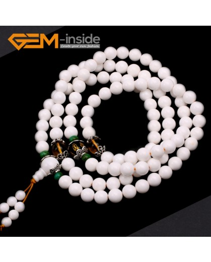 G9787 8mm Natural Round Tridacna Shell Mala Prayer Buddha Buddhism Bracelet Necklace Beads With Citrine Buddha Agate 108 Beads Fashion Jewelry Jewellery Bracelets for women