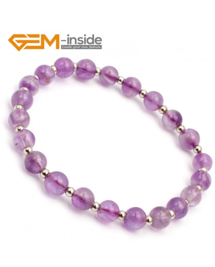 "G9788 6mm (With Spacer Beads) Natural Round Light Amethyst Bracelet Stretch Bracelet 7 1/2"" Fashion Jewelry Jewellery Bracelets for women"