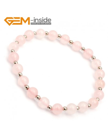 "G9798 6mm (With Spacer Beads) Natural Round Rose Quartz Bracelet Stretch Handmade Bracelet 7.5"" Fashion Jewelry Jewellery Bracelets for women"