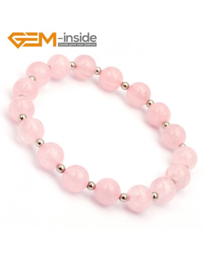 "G9800 8mm (With Spacer Beads) Natural Round Rose Quartz Bracelet Stretch Handmade Bracelet 7.5"" Fashion Jewelry Jewellery Bracelets for women"