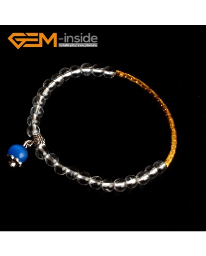 "G9865 6mm With Gold Tube Spacer Natural Round White Clear Rock Quartz Crystal Beads Handmade Elastic Bracelet 7 1/2"" Fashion Jewelry Jewellery Bracelets for women"
