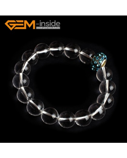 """G9868 12mm With Crystal Rhinstone Beads Natural Round White Clear Rock Quartz Crystal Beads Handmade Elastic Bracelet 7 1/2"""" Fashion Jewelry Jewellery Bracelets for women"""