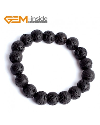 "G9888 10mm Natural Round Black Lava Rock Beads Stretchy Bracelet 7 1/2"" Adjustable Gbeads Fashion Jewelry Jewellery Bracelets for women"