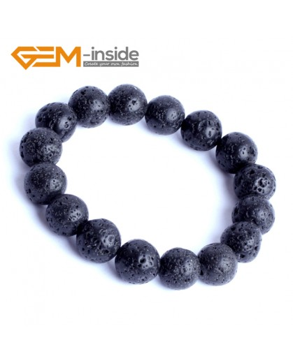 "G9889 12mm Natural Round Black Lava Rock Beads Stretchy Bracelet 7 1/2"" Adjustable Gbeads Fashion Jewelry Jewellery Bracelets for women"