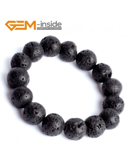 "G9890 14mm Natural Round Black Lava Rock Beads Stretchy Bracelet 7 1/2"" Fashion Jewelry Jewellery Bracelets for women"