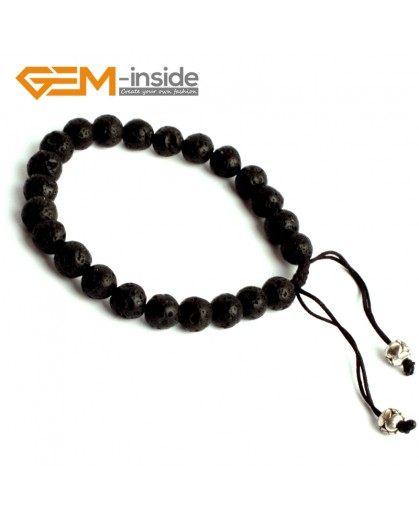 "G9892 8mm Adjustable Natural Round Black Lava Rock Beads Bracelet 7 1/2"" Fashion Jewelry Jewellery Bracelets for women"