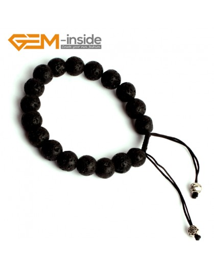 "G9893 10mm Adjustable Natural Round Black Lava Rock Beads Bracelet 7 1/2"" Fashion Jewelry Jewellery Bracelets for women"