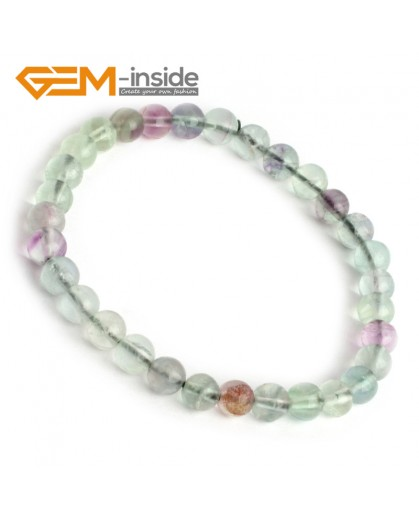 G9904 Handmade Natural Round 6mm Rainbow Fluorite Beads Bracelet Stretchy adjustable 7 1/2"