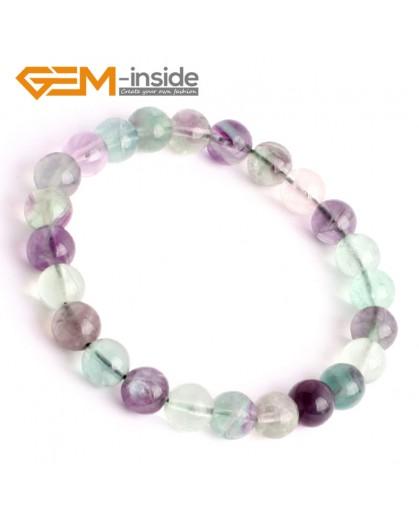 "G9905 8mm Handmade Natural Round Rainbow Fluorite Beads Bracelet 7 1/2"" Stretchy Adjustable Fashion Jewelry Jewellery Bracelets  for women"