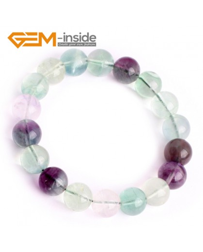 "G9906 10mm Handmade Natural Round Rainbow Fluorite Beads Bracelet 7 1/2"" Stretchy Adjustable Fashion Jewelry Jewellery Bracelets  for women"