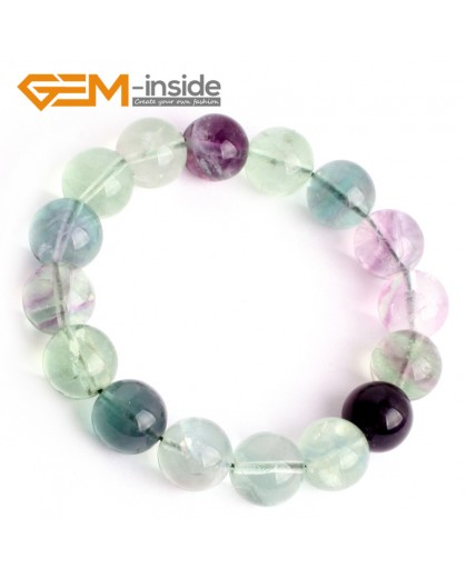 "G9907 12mm Handmade Natural Round Rainbow Fluorite Beads mens Bracelet 7 1/2"" Stretchy Adjustable Fashion Jewelry Jewellery Bracelets"