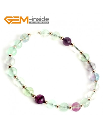 "G9909 6mm (With Spacer Beads) Handmade Natural Round Rainbow Fluorite Beads Stretchy Bracelet 7 1/2"" Adjustable Fashion Jewelry Jewellery Bracelets  for women"