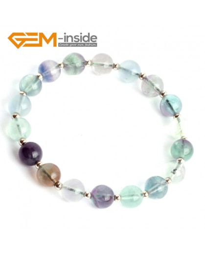 "G9910 8mm(With Spacer Beads ) Handmade Natural Round Rainbow Fluorite Beads Stretchy Bracelet 7 1/2"" Adjustable Fashion Jewelry Jewellery Bracelets  for women"