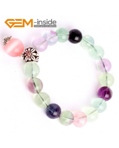 G9911 10mm(With Cat Eye and  Spacer)Handmade Natural Round Rainbow Fluorite Beads Stretchy Bracelet 7 1/2? Adjustable Fashion Jewelry Jewellery Charm Bracelets  for women