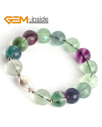 "G9912 12mm(With Fish Spacer ) Handmade Natural Round Rainbow Fluorite Beads Stretchy Charm Bracelet 7 1/2"" Adjustable Fashion Jewelry Jewellery Bracelets  for women"