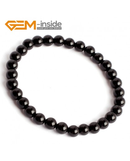 "G9914 6mm Natural Round Black Agate Beads Handmade Stretchy Bracelet 7 1/2"" Christmas Gift Fashion Jewelry Jewellery Bracelets for women"