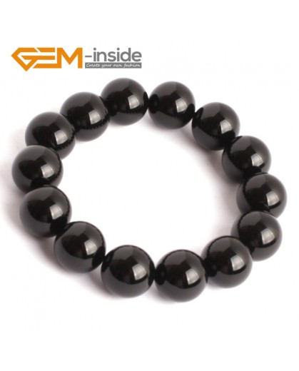"G9918 14mm Natural Round Black Agate Beads Handmade Stretchy Bracelet 7 1/2"" Fashion Jewelry Jewellery mens Bracelets"