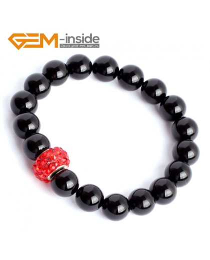 "G9921 10mm (With Red Spacer) Natural Round Black Agate Beads Handmade Stretchy Bracelet 7 1/2"" Fashion Jewelry Jewellery Bracelets for women"