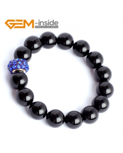 "G9922 12mm (With Blue Spacer ) Natural Round Black Agate Beads Handmade Stretchy Bracelet 7 1/2"" Fashion Jewelry Jewellery Bracelets for women"