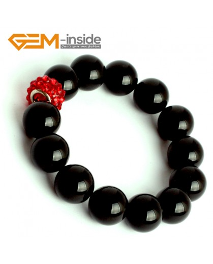 "G9923 14mm (With Red Spacer) Natural Round Black Agate Beads Handmade Stretchy Bracelet 7 1/2"" Fashion Jewelry Jewellery mens Bracelets"