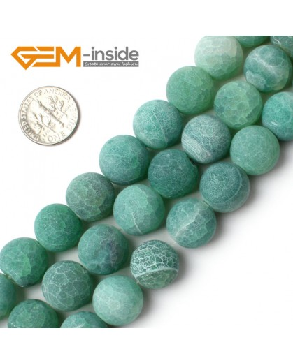 "G0061 Green 14mm Round Frost Agate Gemstone Jewelry Making Loose Beads15""  Pick Size & Color Natural Stone Beads for Jewelry Making Wholesale`"
