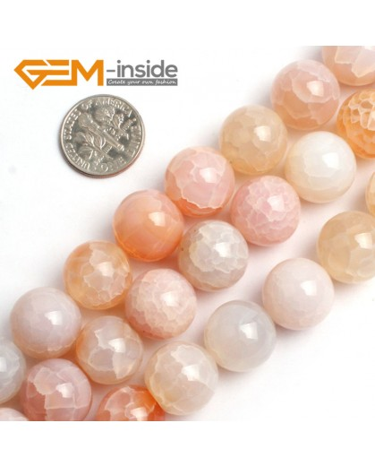 "G0064 14mm Round Crackle Pink Agate Gemstone Beads Strand 15"" Free Shipping Selectable Size Natural Stone Beads for Jewelry Making Wholesale`"