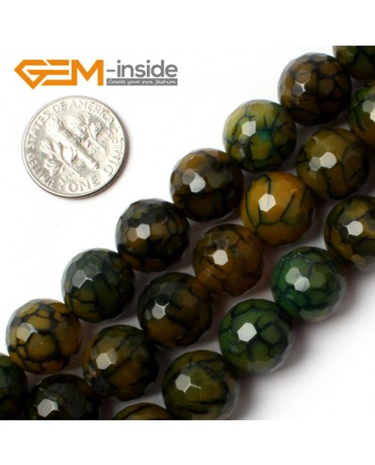 """G0080 12mm Round Faceted Yellow Crackle Agate Beads Strand 15"""" Free Shipping Gbeads Natural Stone Beads for Jewelry Making Wholesale`"""