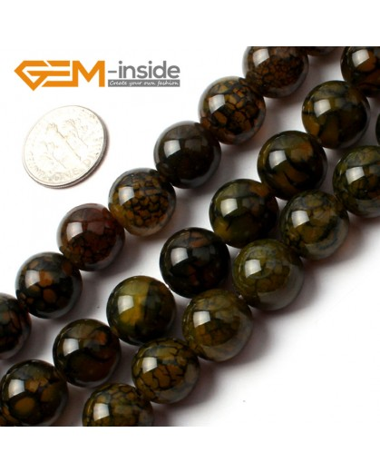 "G0086 12mm Round Gemstone Crackle Agate Beads Strand 15"" Free Shipping Natural Stone Beads for Jewelry Making Wholesale`"