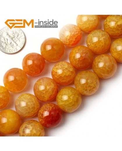 """G0109 14mm Round Yellow Crackle Agate Beads Strand 15"""" Free Shipping Natural Stone Beads for Jewelry Making Wholesale`"""