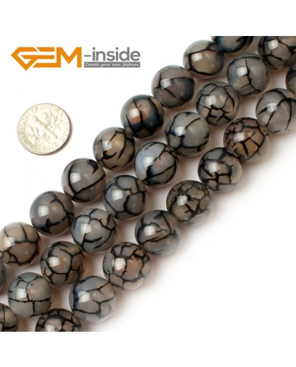 "G0117 14mm Round Crackle Black Agate Gemstone Jewelry Making Beads Strand 15"" Free Shipping Natural Stone Beads for Jewelry Making Wholesale`"