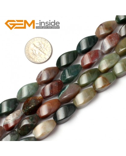 """G0543 Indian Agate Twisted Drum Loose Beads Strands 15"""" Natural Gemstone 8x16mm Natural Stone Beads for Jewelry Making Wholesale"""