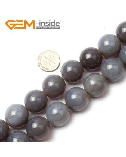 """G0586 18mm Natural Round Gray Agate Beads 15"""" 6-20mm Jewely Making Gemstone Loose Beads Natural Stone Beads for Jewelry Making Wholesale"""