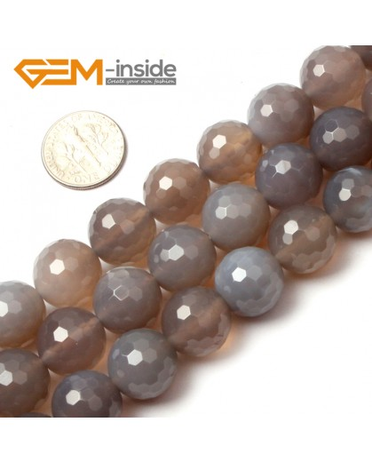 """G0593 14mm Round Faceted Natural Gray Agate Gemstone Loose Beads Strands 15"""" 10-14mm Pick Natural Stone Beads for Jewelry Making Wholesale"""