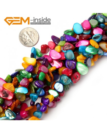 """G0889 8x10mm(34 inches)Multicolor Shell MOP Chips Gemstone Jewelery Making Loose Beads Strand 15"""" & 34"""" Natural Stone Beads for Jewelry Making Wholesale"""