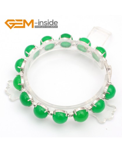 "G10001 Green Jade tennis link bracelet 7"" tibetan silver body Fashion Jewelry Jewellery Bracelets  for women"