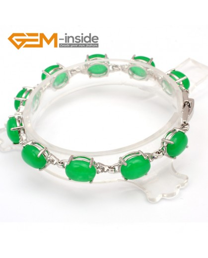 "G10010 8x10mm x 7""Green Beautiful Fashion Oval Bracelet with crystal ball for ladies  Fashion Jewelry Jewellery Bracelets  for women"