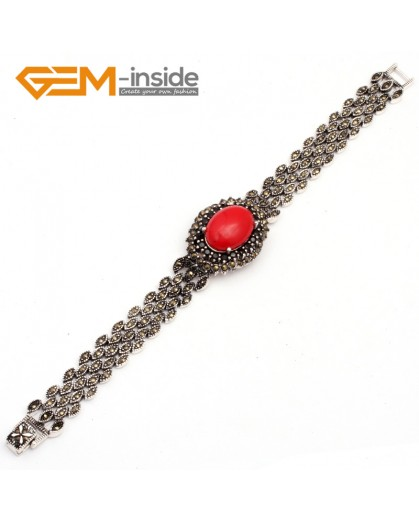 "G10032 Semi Red Coral Fashion Oval Jewelry Link Bracelet Beads Tibetan Silver Marcasite 25mmx30mmx7""  Fashion Jewelry Jewellery Bracelets  for women"