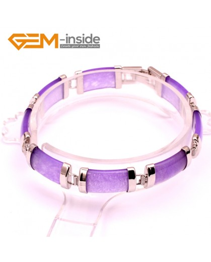 "G10054 Purple Jade Fashion Jewelry Link Jade Bracelet Rectangle Stone Beads Gold Plated 10x19mmx7"" Fashion Jewelry Jewellery Bracelets  for women"