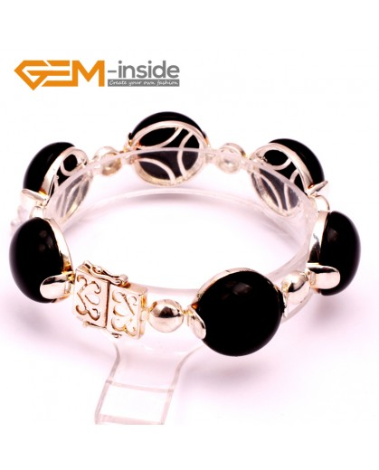 """G10065 Black Agate Fashion Jewelry Link Bracelet Tibetan Silver Coin Stone Beads Giftware18mmx7"""" Fashion Jewelry Jewellery Bracelets  for women"""