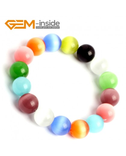 G10166 Multicolor 12mm Handmade Multicolor Round Cat Eye's Beads Stretchy Bracelet Pick Fashion Jewelry Jewellery Bracelets  for women