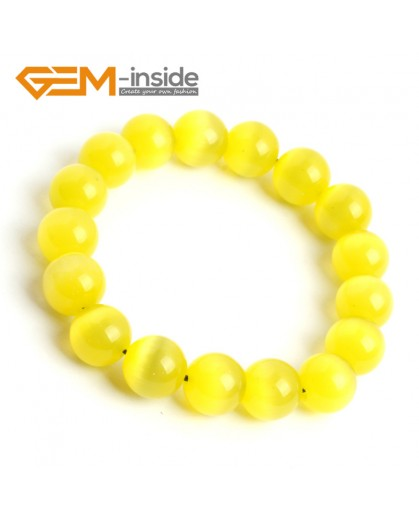 G10174 Yellow 12mm Handmade Multicolor Round Cat Eye's Beads Stretchy Bracelet Pick Fashion Jewelry Jewellery Bracelets  for women