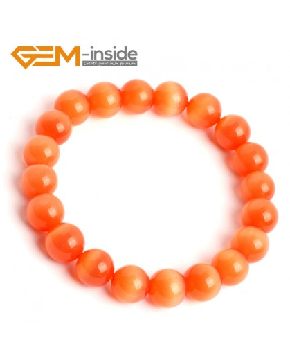 G10181 Orange 10mm Handmade Multicolor Round Cat Eye's Beads Stretchy Bracelet Pick Fashion Jewelry Jewellery Bracelets  for women