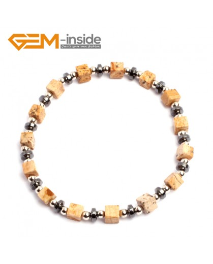 "G10199 Picture Jasper 4mm Cubic Gemstone Beads Handmade Bracelet 7 1/2"" XMAS New Fashion Jewelry Fashion Jewelry Jewellery Bracelets  for women"