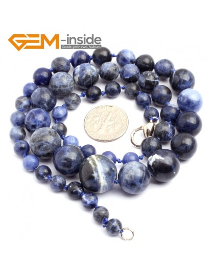 "G10280 6-16mm Sodalite 18"" Handmade Graduated Necklace Beads 17-22 Inches Selectable XMAS Jewelry Gemstone Birthstone Necklaces Fashion Jewelry Jewellery"