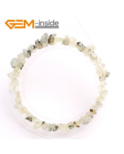 "G10428 Prehnite Beads Natural Freeform Chips Handmade Finished  Gemstone Bracelet 7 "" Free Shipping  Fashion Jewelry Jewellery Bracelets  for women"