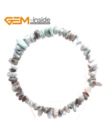 "G10455 Larimar Natural Freeform Chips Handmade Finished  Gemstone Bracelet 7 "" Free Shipping  Fashion Jewelry Jewellery Bracelets  for women"