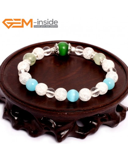 "G10513  Prehinte Cat Eye Crystal Mixed Stone Elastic Stretch Energy Bracelet 7"" Fashion Jewelry Bracelets for Women"