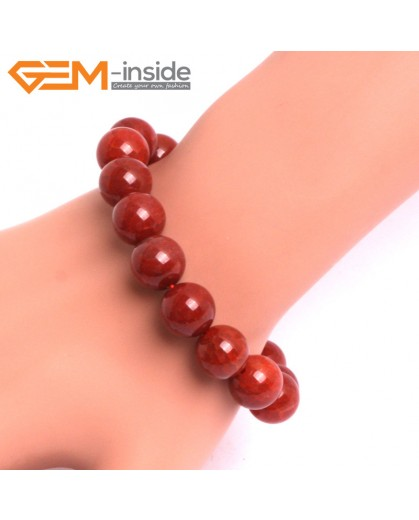 """G10635 12mm Round Red Dragon Veins Agate Healing Elastic Stretch Energy Bracelet 7"""" Fashion Jewelry Bracelets for Women"""
