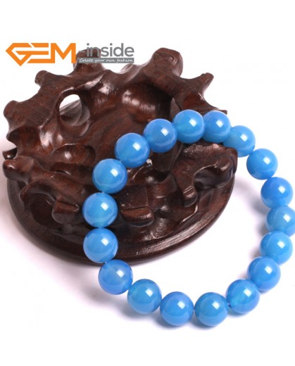 """G10640 10mm Round Blue Agate Natural Stone Healing Elastic Stretch Energy Bracelet 7"""" Fashion Jewelry Bracelets for Women"""